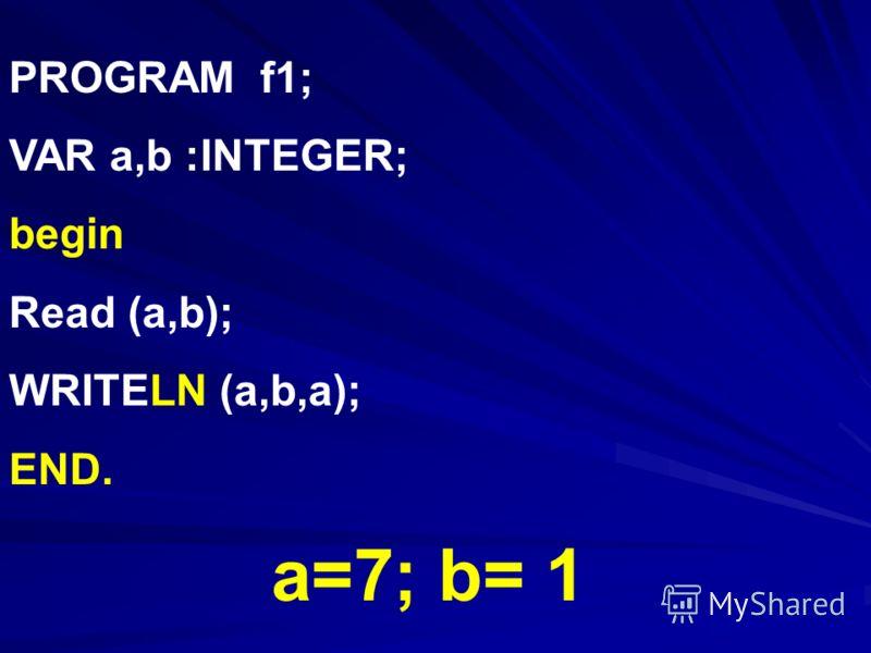 PROGRAM f1; VAR a,b :INTEGER; begin Read (a,b); WRITELN (a,b,a); END. a=7; b= 1