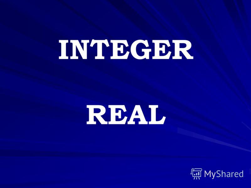 INTEGER REAL