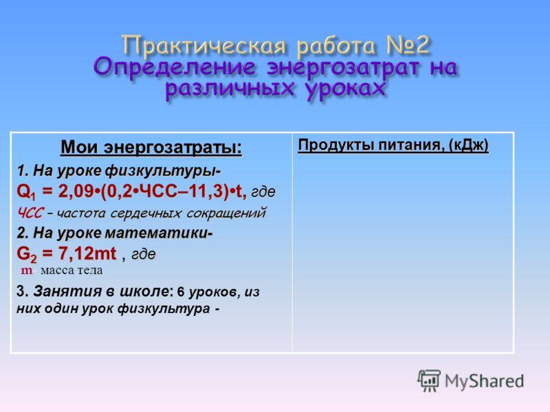 Мои энергозатраты: 1. На уроке физкультуры- Q 1 = 2,09(0,2ЧСС–11,3)t, где 2. На уроке математики- G 2 = 7,12mt где G 2 = 7,12mt, где 3. Занятия в школе: 6 уроков, из них один урок физкультура - Продукты питания, (кДж) ЧСС – частота сердечных сокращен