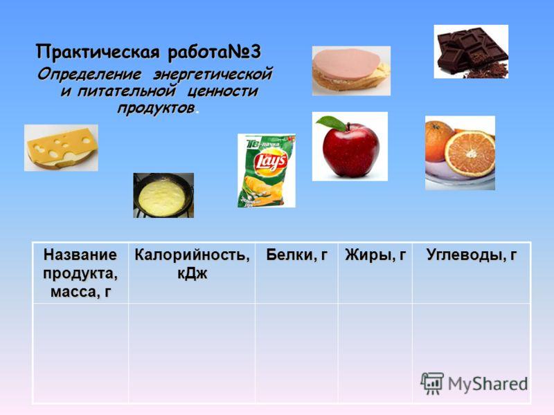Определение энергетической и питательной ценности продуктов. Определение энергетической и питательной ценности продуктов. Практическая работа3 Название продукта, масса, г Калорийность, кДж Белки, г Жиры, г Углеводы, г