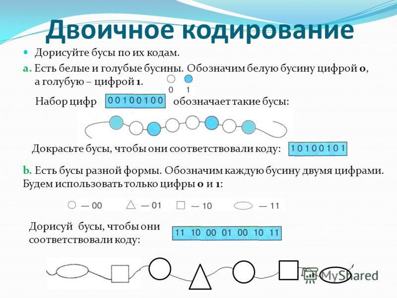 Двоичное кодирование Дорисуйте бусы по их кодам. а. Есть белые и голубые бусины. Обозначим белую бусину цифрой 0, а голубую – цифрой 1. Набор цифр обозначает такие бусы: Докрасьте бусы, чтобы они соответствовали коду: b. Есть бусы разной формы. Обозн