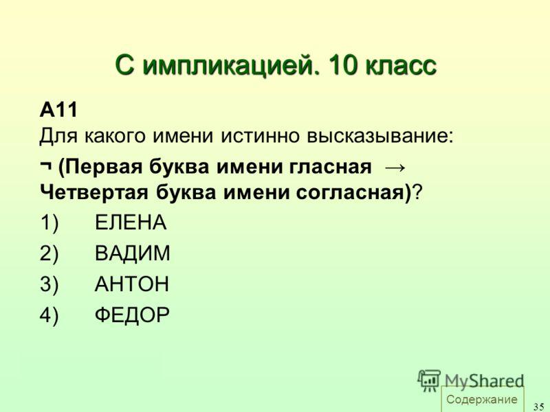 Содержание 35 С импликацией. 10 класс A11 Для какого имени истинно высказывание: ¬ (Первая буква имени гласная Четвертая буква имени согласная)? 1)ЕЛЕНА 2)ВАДИМ 3)АНТОН 4)ФЕДОР Ответ: 3