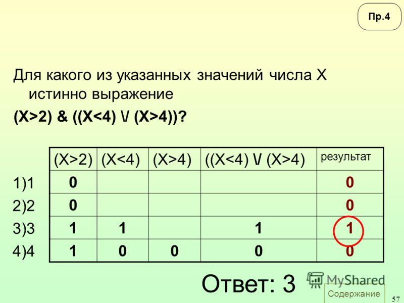 Содержание 57 Для какого из указанных значений числа X истинно выражение (X>2) & ((X 4))? 1)1 2)2 3)3 4)4 (X>2)(X4)((X 4) результат 00 00 1111 10000 Ответ: 3 Пр.4