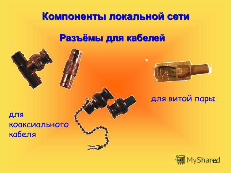 13 Компоненты локальной сети Разъёмы для кабелей для коаксиального кабеля для витой пары