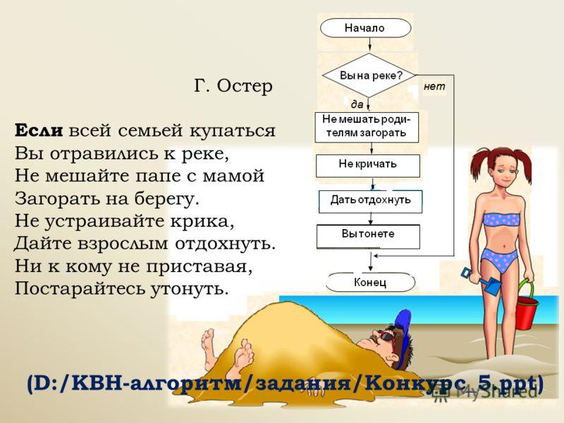 Г. Остер Если всей семьей купаться Вы отравились к реке, Не мешайте папе с мамой Загорать на берегу. Не устраивайте крика, Дайте взрослым отдохнуть. Ни к кому не приставая, Постарайтесь утонуть. (D:/КВН-алгоритм/задания/Конкурс_5.ppt)