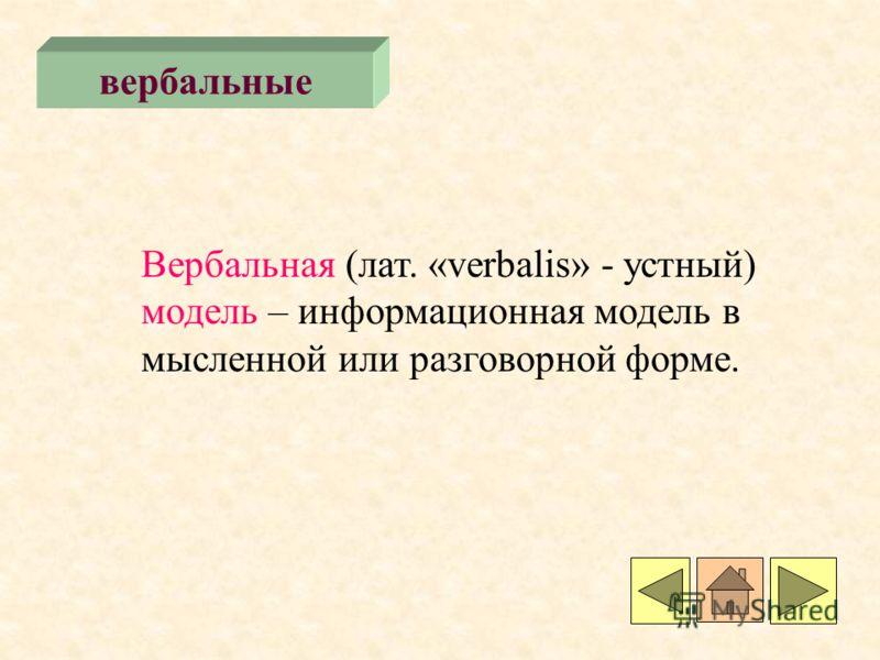 вербальные Вербальная (лат. «verbalis» - устный) модель – информационная модель в мысленной или разговорной форме.