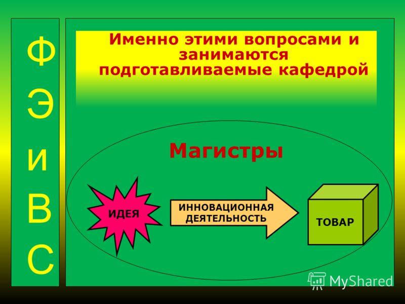 Именно этими вопросами и занимаются подготавливаемые кафедрой Магистры ИДЕЯ ТОВАР ИННОВАЦИОННАЯ ДЕЯТЕЛЬНОСТЬ