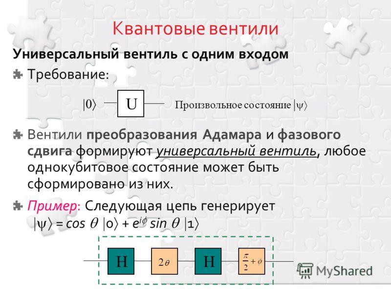 Универсальный вентиль с одним входом Требование: Вентили преобразования Адамара и фазового сдвига формируют универсальный вентиль, любое однокубитовое состояние может быть сформировано из них. Пример: Следующая цепь генерирует = cos 0 + e i sin 1 U П