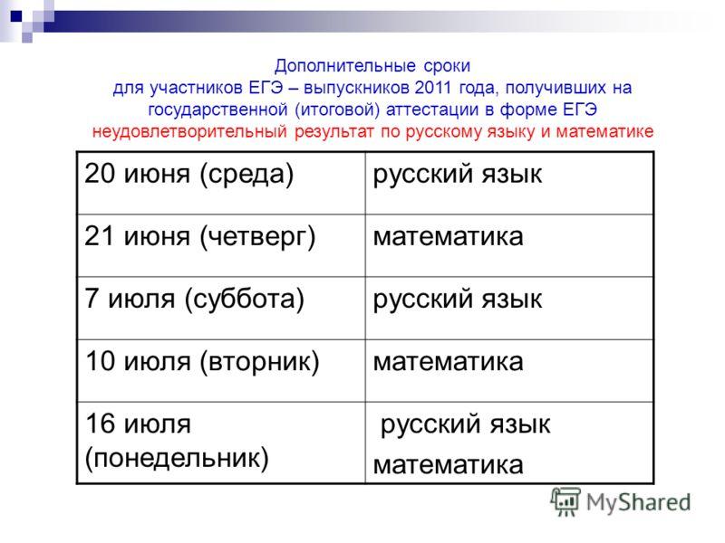 Дополнительные сроки для участников ЕГЭ – выпускников 2011 года, получивших на государственной (итоговой) аттестации в форме ЕГЭ неудовлетворительный результат по русскому языку и математике 20 июня (среда)русский язык 21 июня (четверг)математика 7 и