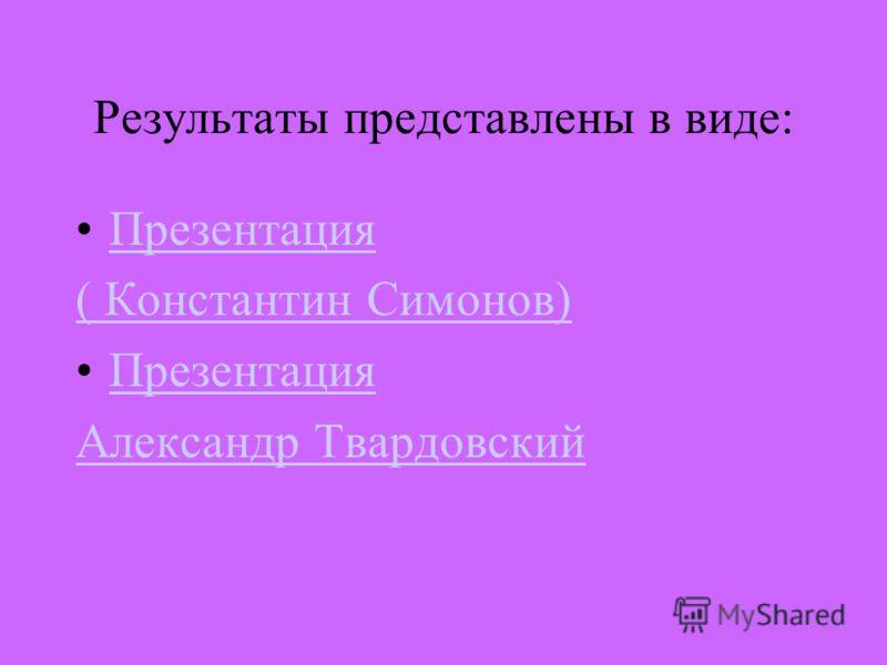 Результаты представлены в виде: Презентация ( Константин Симонов) Презентация Александр Твардовский