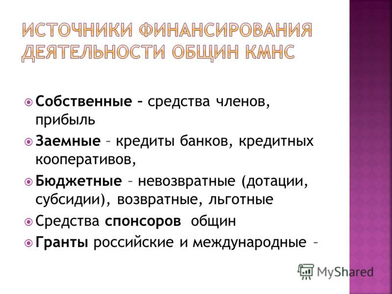 Собственные – средства членов, прибыль Заемные – кредиты банков, кредитных кооперативов, Бюджетные – невозвратные (дотации, субсидии), возвратные, льготные Средства спонсоров общин Гранты российские и международные –