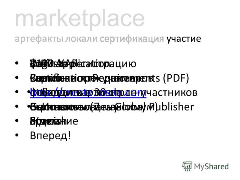 marketplace артефакты локали сертификация участие файл XAP картинки трех размеров фоновая картинка скриншоты (7 максимум) описание артефакты локали сертификация участие English French Italian German Spanish артефакты локали сертификация участие WP7 A