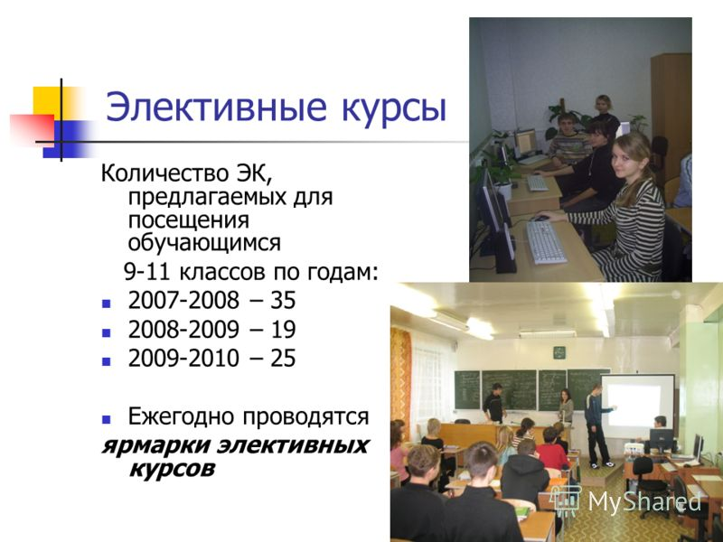 Элективные курсы Количество ЭК, предлагаемых для посещения обучающимся 9-11 классов по годам: 2007-2008 – 35 2008-2009 – 19 2009-2010 – 25 Ежегодно проводятся ярмарки элективных курсов