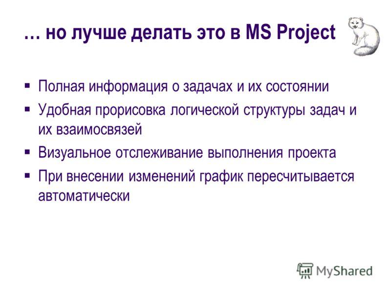 … но лучше делать это в MS Project Полная информация о задачах и их состоянии Удобная прорисовка логической структуры задач и их взаимосвязей Визуальное отслеживание выполнения проекта При внесении изменений график пересчитывается автоматически