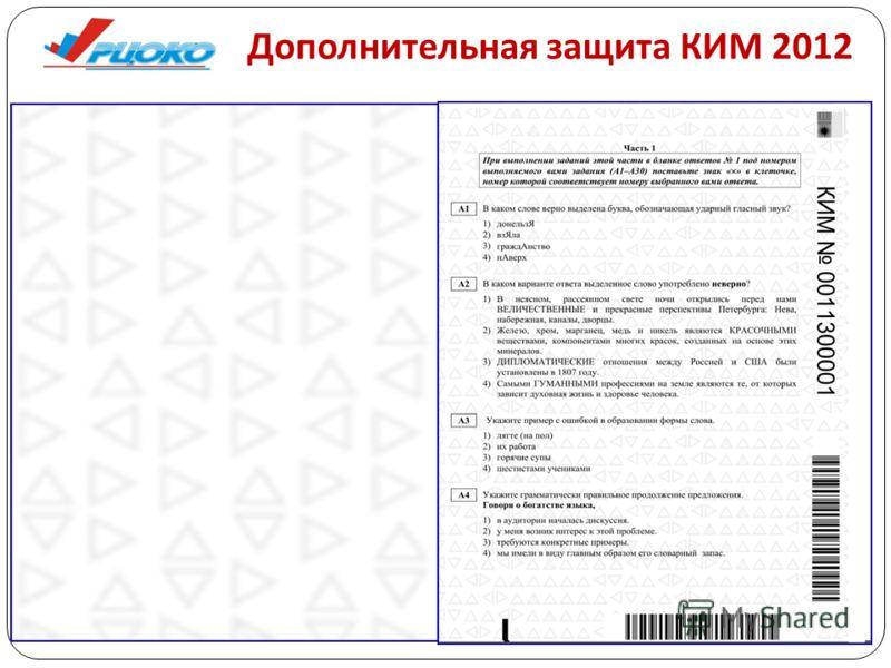 Дополнительная защита КИМ 2012
