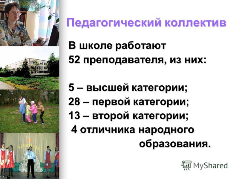 Педагогический коллектив В школе работают 52 преподавателя, из них: 5 – высшей категории; 28 – первой категории; 13 – второй категории; 4 отличника народного 4 отличника народного образования. образования.