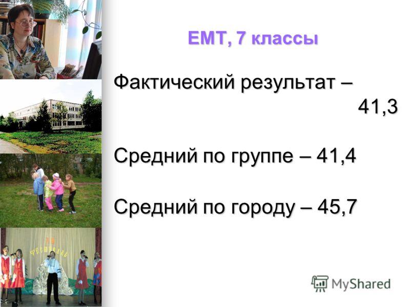 ЕМТ, 7 классы Фактический результат – 41,3 41,3 Средний по группе – 41,4 Средний по городу – 45,7