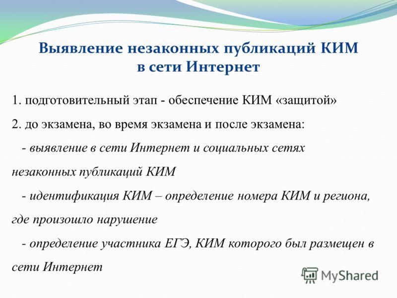 1. подготовительный этап - обеспечение КИМ «защитой» 2. до экзамена, во время экзамена и после экзамена: - выявление в сети Интернет и социальных сетях незаконных публикаций КИМ - идентификация КИМ – определение номера КИМ и региона, где произошло на