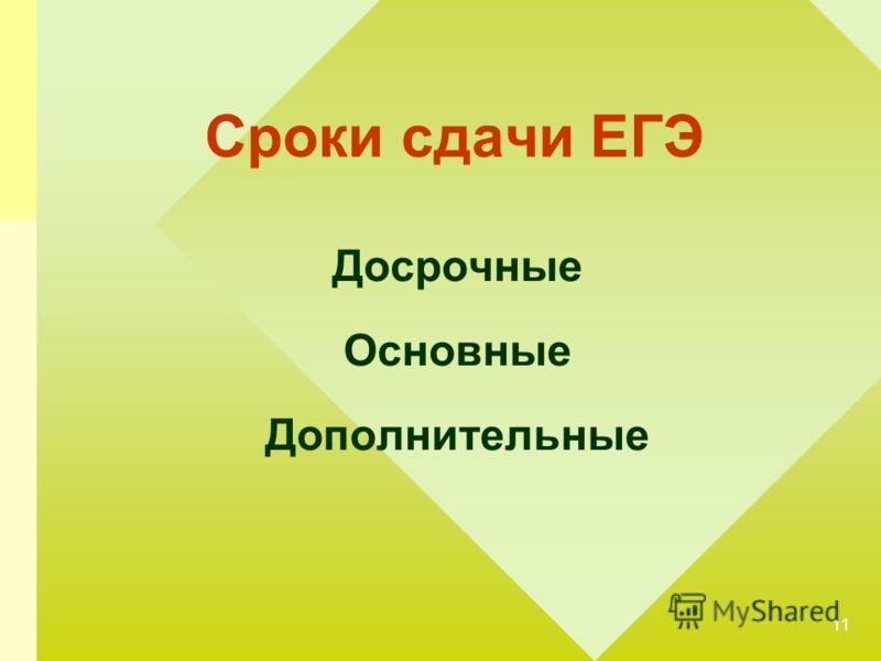 11 Сроки сдачи ЕГЭ Досрочные Основные Дополнительные