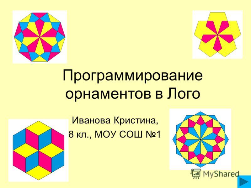 Программирование орнаментов в Лого Иванова Кристина, 8 кл., МОУ СОШ 1