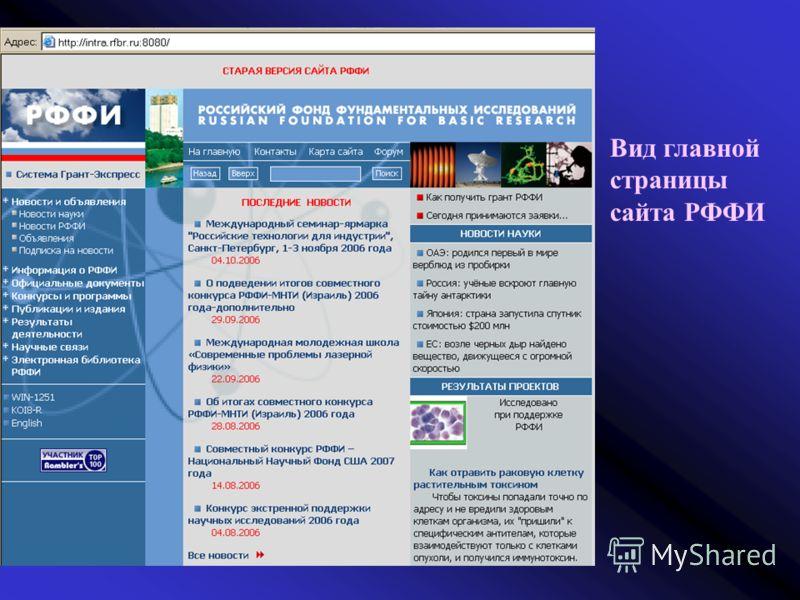 Вид главной страницы сайта РФФИ