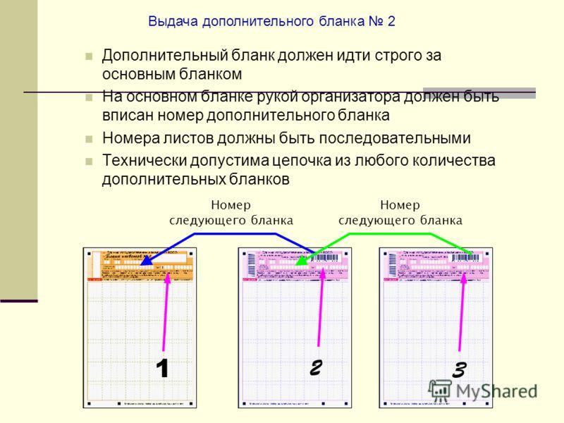 Номер следующего бланка Номер следующего бланка 1 2 3 Выдача дополнительного бланка 2 Дополнительный бланк должен идти строго за основным бланком На основном бланке рукой организатора должен быть вписан номер дополнительного бланка Номера листов долж