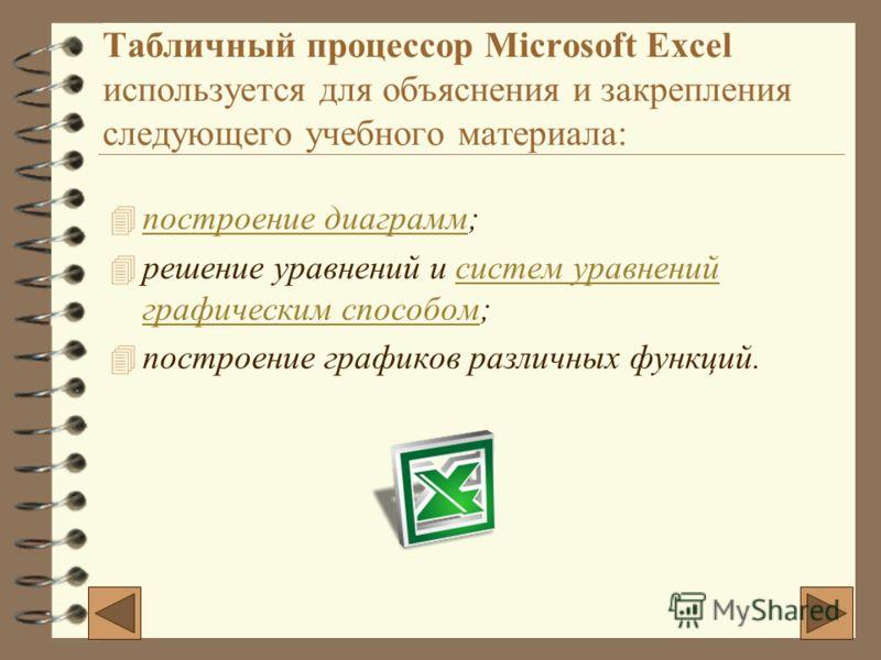 Табличный процессор Microsoft Excel используется для объяснения и закрепления следующего учебного материала: 4п4построение диаграмм; 4р4решение уравнений и систем уравнений графическим способом; 4п4построение графиков различных функций.