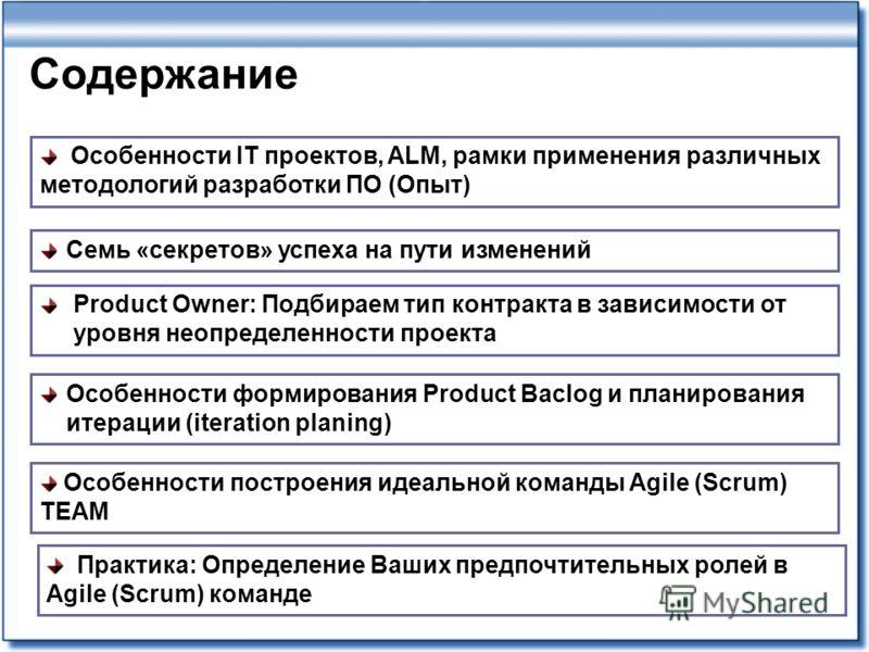 Содержание Особенности IT проектов, ALM, рамки применения различных методологий разработки ПО (Опыт) Особенности формирования Product Baclog и планирования итерации (iteration planing) Особенности построения идеальной команды Agile (Scrum) TEAM Produ