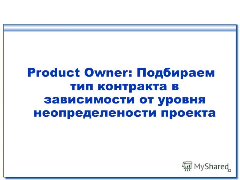 22 Product Owner: Подбираем тип контракта в зависимости от уровня неопределености проекта