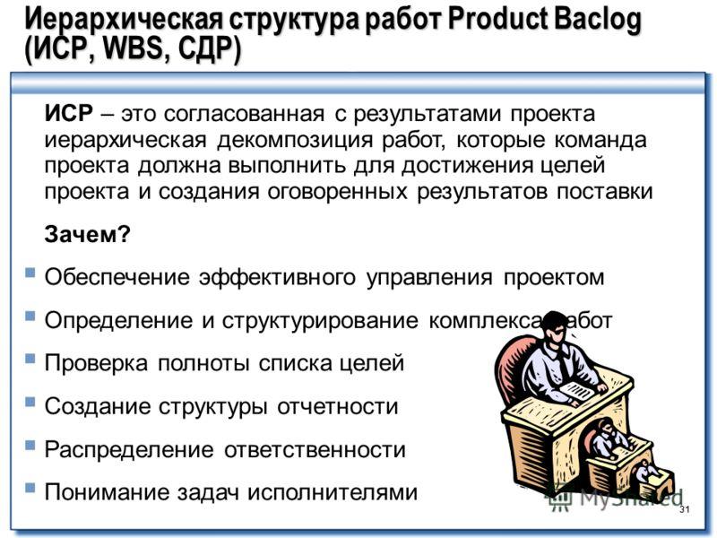 31 Иерархическая структура работ Product Baclog (ИСР, WBS, СДР) 31 ИСР – это согласованная с результатами проекта иерархическая декомпозиция работ, которые команда проекта должна выполнить для достижения целей проекта и создания оговоренных результат