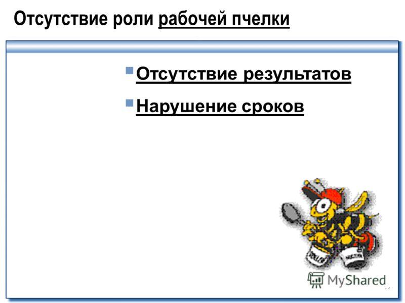 44 Отсутствие роли рабочей пчелки Отсутcтвие результатов Нарушение сроков