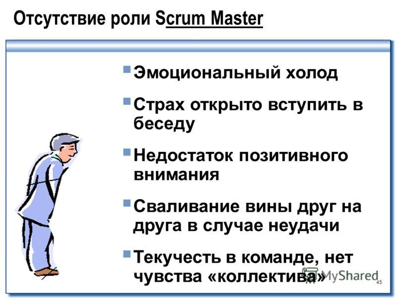 45 Отсутствие роли Scrum Master Эмоциональный холод Страх открыто вступить в беседу Недостаток позитивного внимания Сваливание вины друг на друга в случае неудачи Текучесть в команде, нет чувства «коллектива»