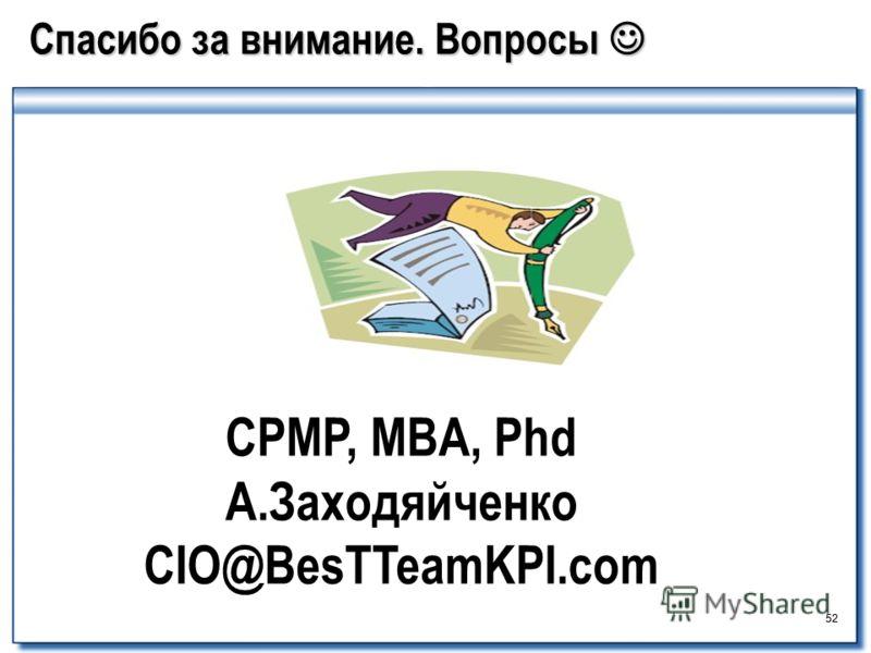 52 Спасибо за внимание. Вопросы Спасибо за внимание. Вопросы CPMP, MBA, Phd А.Заходяйченко СIO@BesTTeamKPI.com