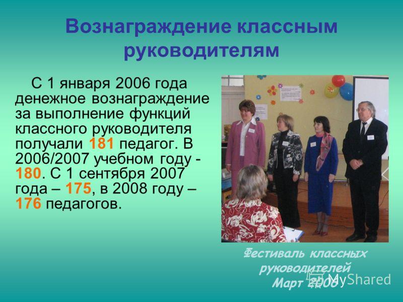 Вознаграждение классным руководителям С 1 января 2006 года денежное вознаграждение за выполнение функций классного руководителя получали 181 педагог. В 2006/2007 учебном году - 180. С 1 сентября 2007 года – 175, в 2008 году – 176 педагогов. Фестиваль