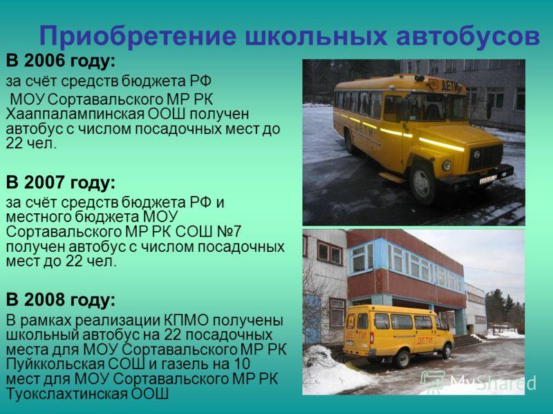 Приобретение школьных автобусов В 2006 году: за счёт средств бюджета РФ МОУ Сортавальского МР РК Хааппалампинская ООШ получен автобус с числом посадочных мест до 22 чел. В 2007 году: за счёт средств бюджета РФ и местного бюджета МОУ Сортавальского МР