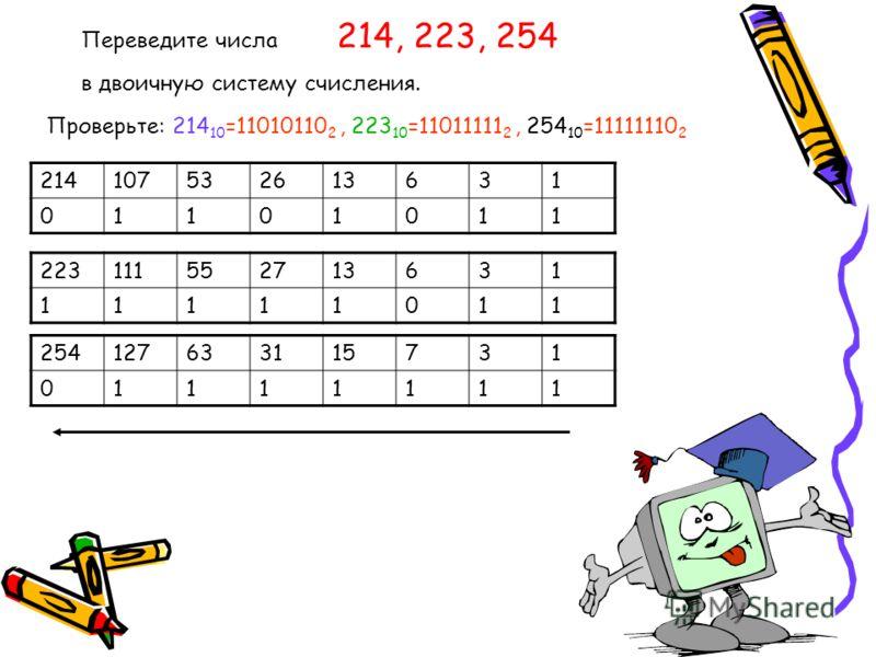 Переведите числа 214, 223, 254 в двоичную систему счисления. Проверьте: 214 10 =11010110 2, 223 10 =11011111 2, 254 10 =11111110 2 214107532613631 01101011 223111552713631 11111011 254127633115731 01111111