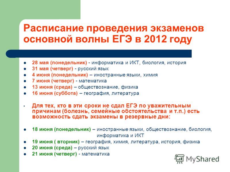 Расписание проведения экзаменов основной волны ЕГЭ в 2012 году 28 мая (понедельник) - информатика и ИКТ, биология, история 31 мая (четверг) - русский язык 4 июня (понедельник) – иностранные языки, химия 7 июня (четверг) - математика 13 июня (среда) –