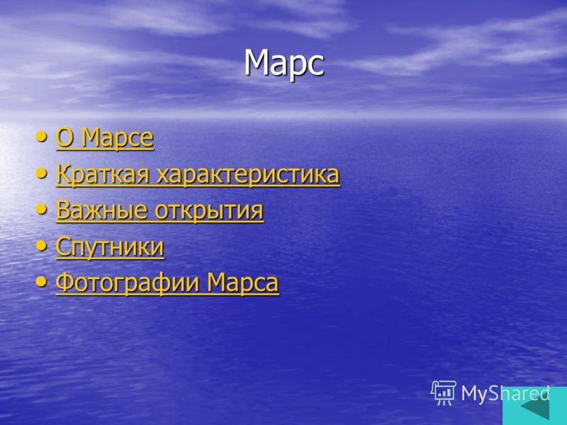 Марс О Марсе О Марсе О Марсе О Марсе Краткая характеристика Краткая характеристика Краткая характеристика Краткая характеристика Важные открытия Важные открытия Важные открытия Важные открытия Спутники Спутники Спутники Фотографии Марса Фотографии Ма