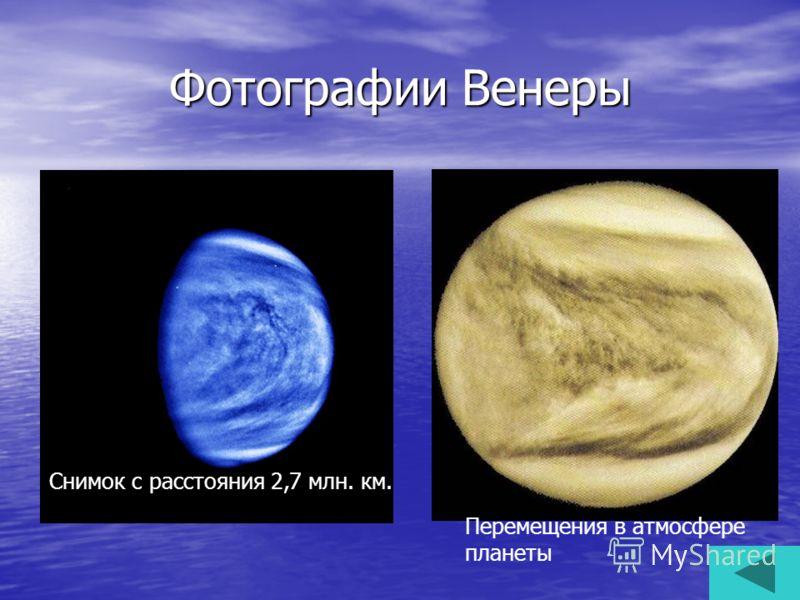 Фотографии Венеры Снимок с расстояния 2,7 млн. км. Перемещения в атмосфере планеты