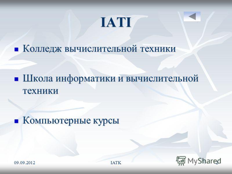 09.09.2012IATK2 IATI Колледж вычислительной техники Школа информатики и вычислительной техники Компьютерные курсы