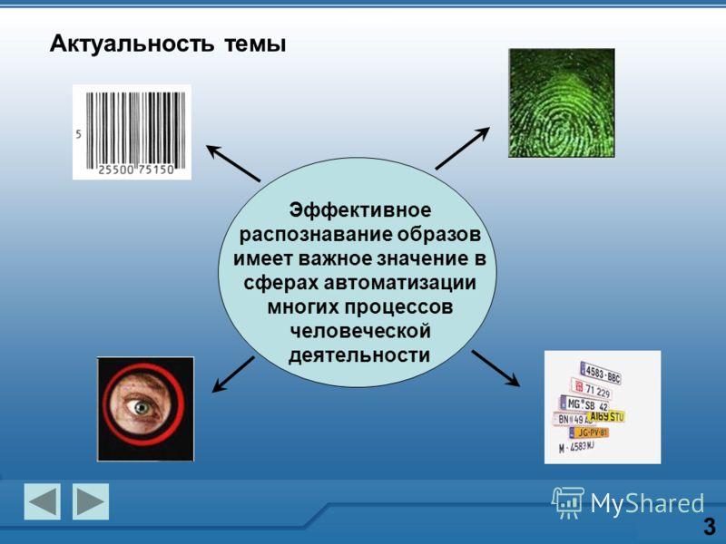 Актуальность темы 3 Эффективное распознавание образов имеет важное значение в сферах автоматизации многих процессов человеческой деятельности