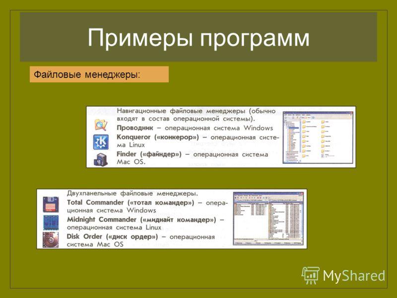 Примеры программ Файловые менеджеры: