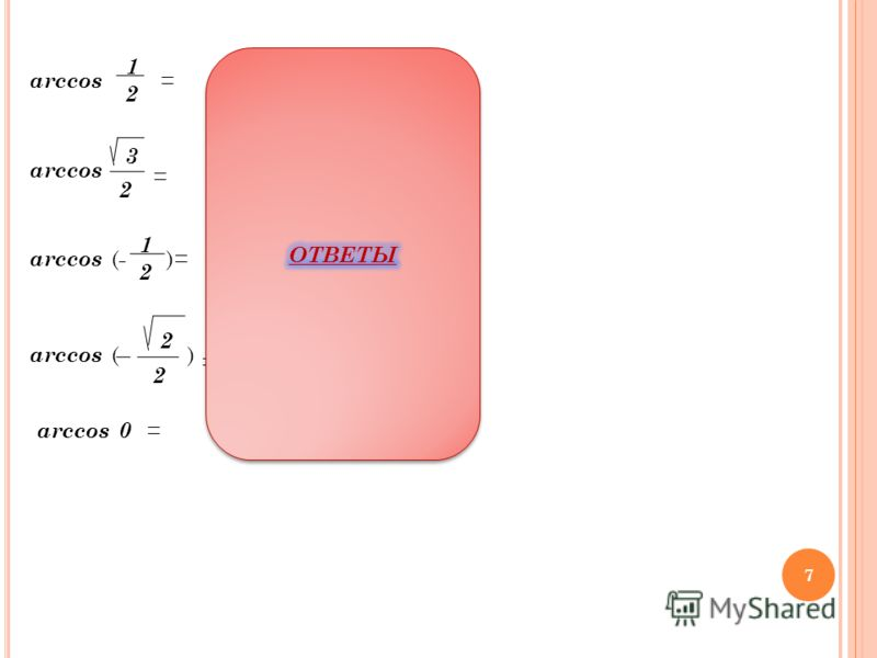 3 2 arccos = 1 2 - = 2 2 = 1 2 = =0 П 3 6 П П2 3 П3 4 П 2 7 ( )( )