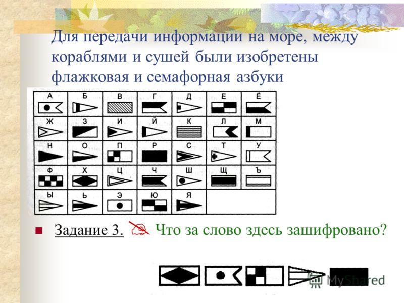 Задание 3. Что за слово здесь зашифровано? Для передачи информации на море, между кораблями и сушей были изобретены флажковая и семафорная азбуки