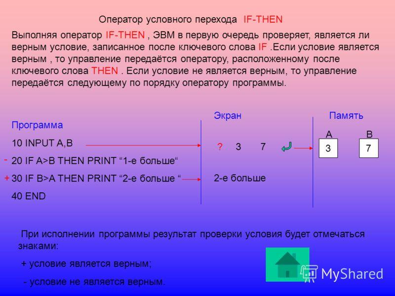 Оператор условного перехода IF-THEN Выполняя оператор IF-THEN, ЭВМ в первую очередь проверяет, является ли верным условие, записанное после ключевого слова IF.Если условие является верным, то управление передаётся оператору, расположенному после ключ