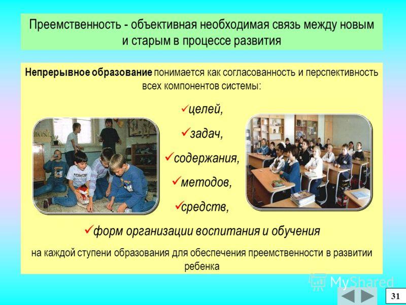 система личностно ориентированного, развивающего образования для массовой школы, непрерывного по ступеням: Дошкольная подготовка Начальная школа Основная школа Старшая школа 30