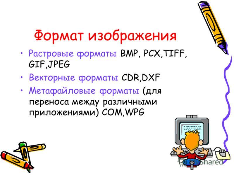 Формат изображения Растровые форматы BMP, PCX,TIFF, GIF,JPEG Векторные форматы CDR,DXF Метафайловые форматы (для переноса между различными приложениями) COM,WPG