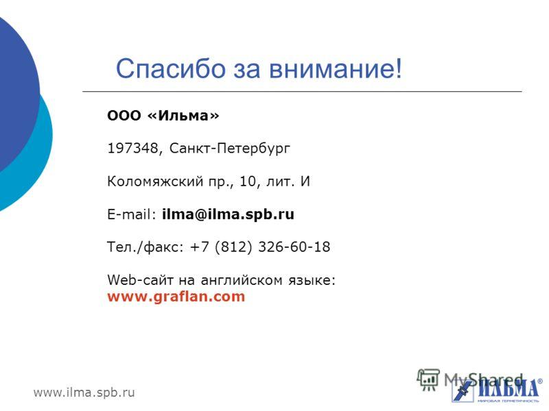 www.ilma.spb.ru Спасибо за внимание! ООО «Ильма» 197348, Санкт-Петербург Коломяжский пр., 10, лит. И E-mail: ilma@ilma.spb.ru Тел./факс: +7 (812) 326-60-18 Web-сайт на английском языке: www.graflan.com