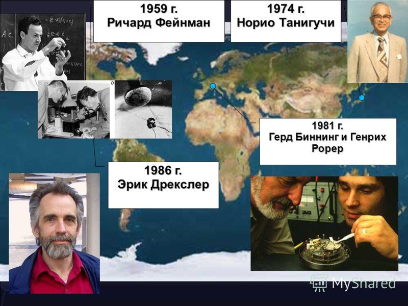 1959 г. Ричард Фейнман 1974 г. Норио Танигучи 1981 г. Герд Биннинг и Генрих Рорер 1986 г. Эрик Дрекслер