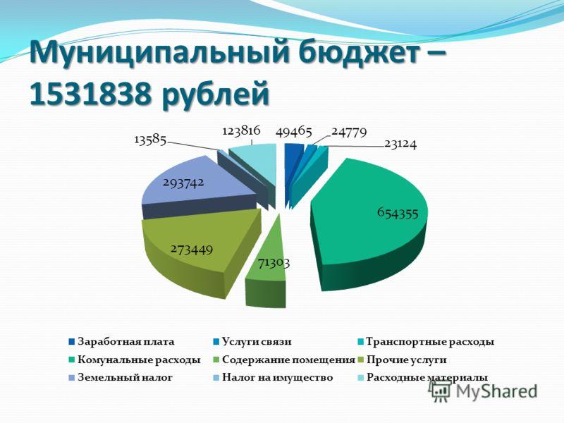 Муниципальный бюджет – 1531838 рублей